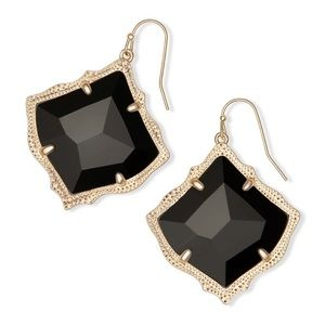Kendra Scott Kirsten Gold Drop Earring Black Glass